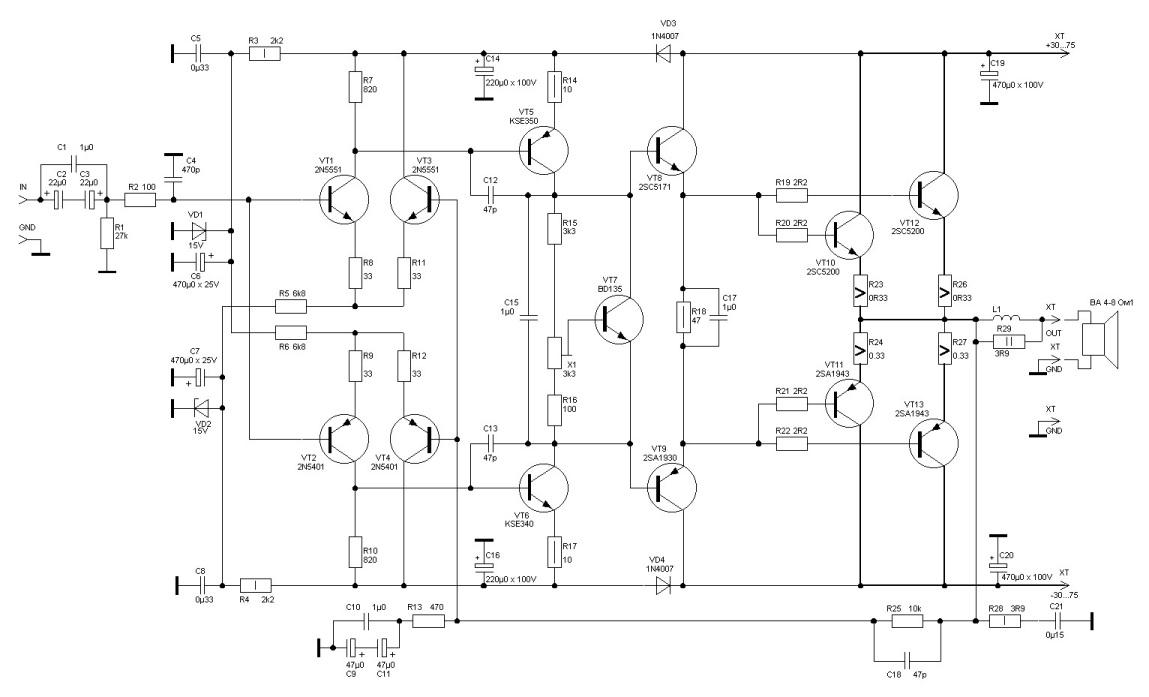 УНЧ сабвуфер УМЗЧ радиоэлектроника схема схемы усилитель мощности ватт MOSFET amplifier HI-FI HI-END лампа ламповый.