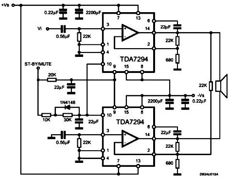 Tda 7294 мостовоя схема - Актуальная база.  Самодельный усилитель на tda 7294.
