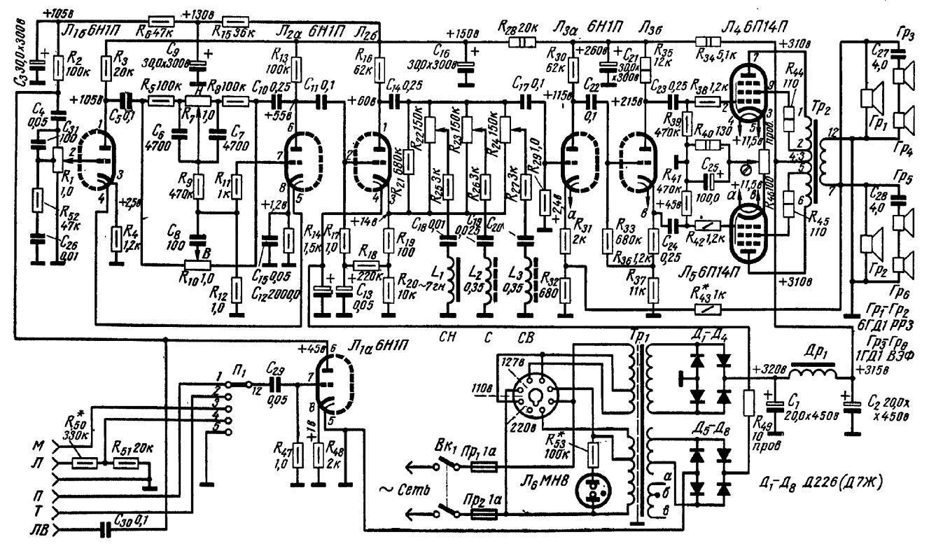 ...схема усилителя 50 х годов ламповые усилители Описание картинка схема унч на 200 ватт схемы схема унч на 200.