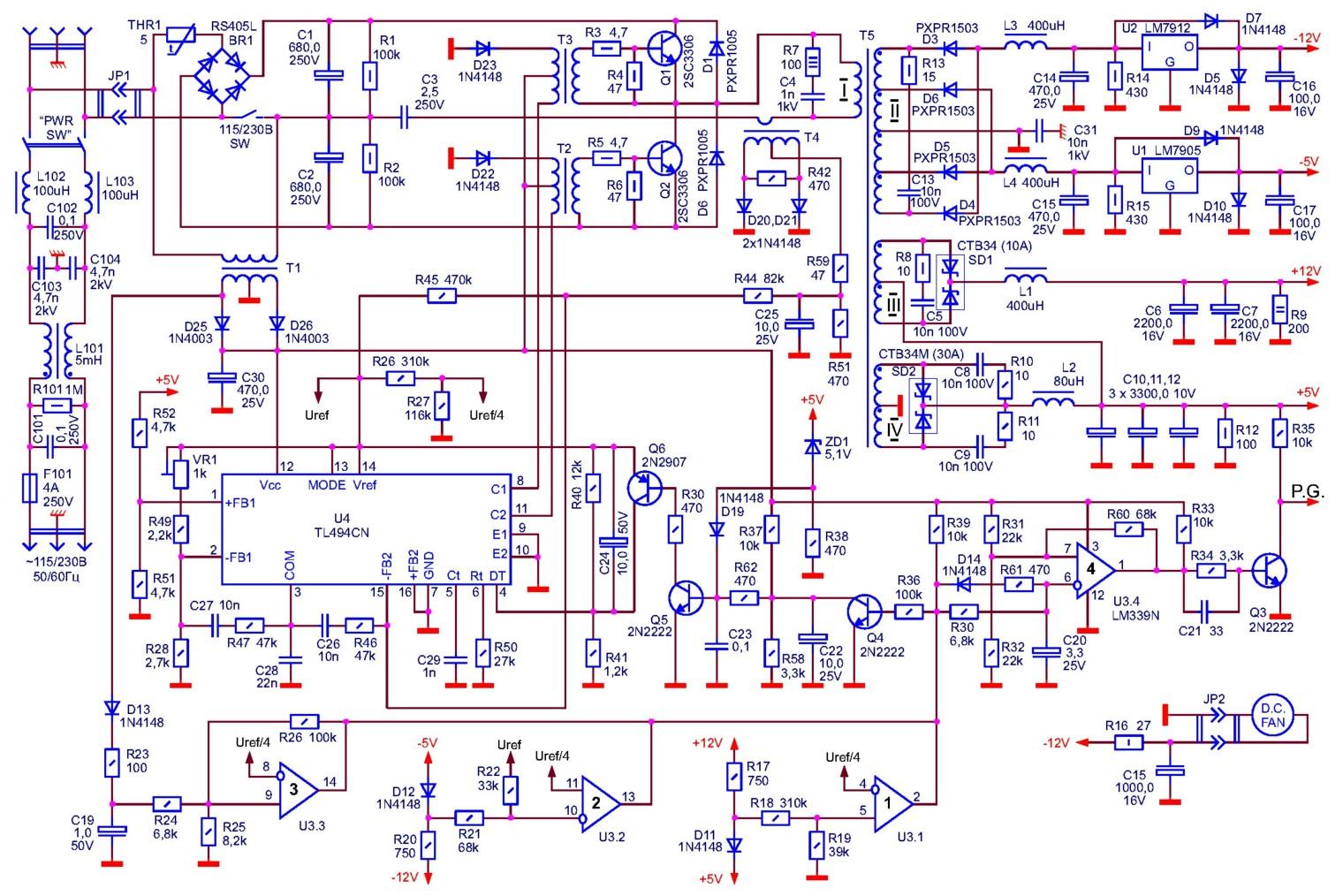 электрическая схема блока питания компьютера м атх 360w - Практическая схемотехника.